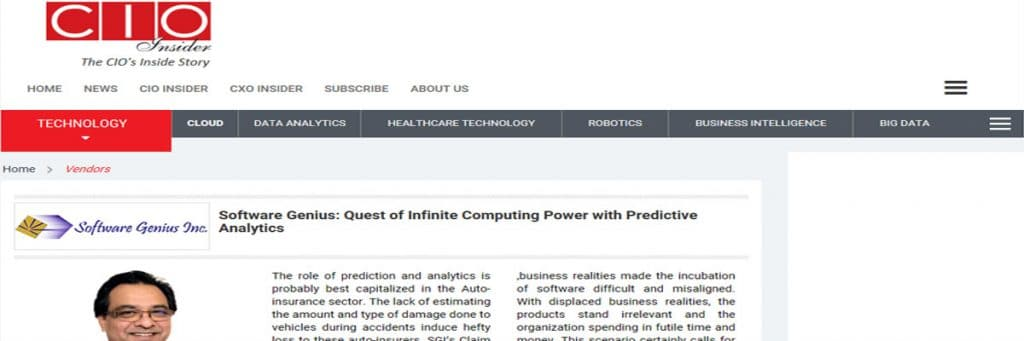 CIOInsider - Infinite Computing Power with Predictive Analytics - SGI